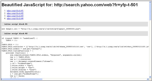 así se muestra la línea de JavaScript con All JS Beautified.