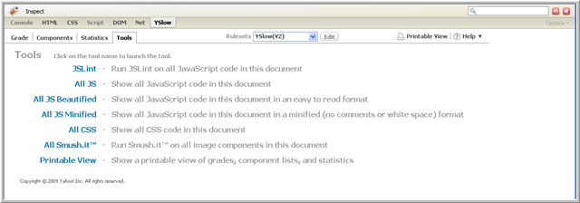 captura de pantalla de las herramientas que le ofrece YSlow.