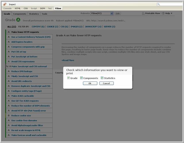 imagen donde vemos como hacer una impresión del contenido de YSlow.