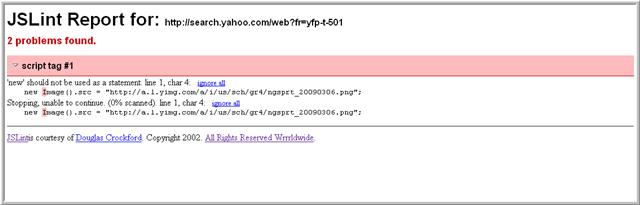 captura de pantalla de un informe JSLint.