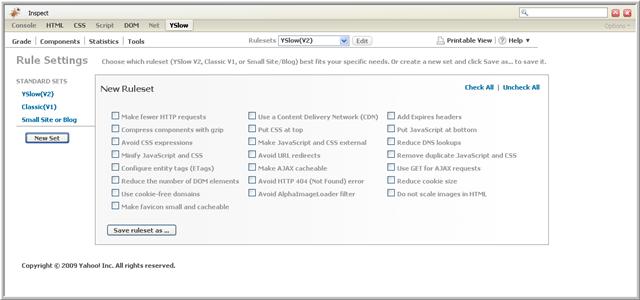 imagen donde vemos como personalizar las reglas de YSlow.