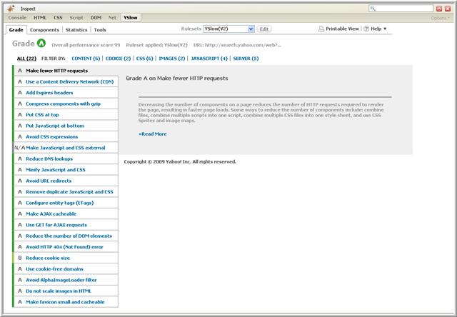 imagen de ejemplo donde se aprecia la manera en que YSlow, muestra la calificación de una página web.